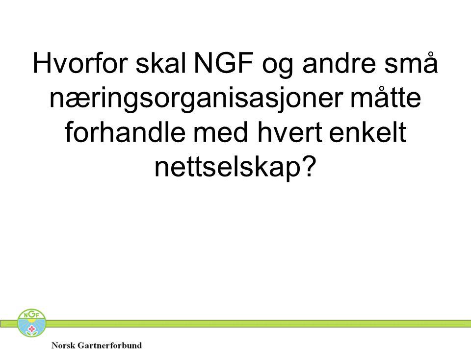 Hvorfor skal NGF og andre små næringsorganisasjoner måtte forhandle med hvert enkelt nettselskap?