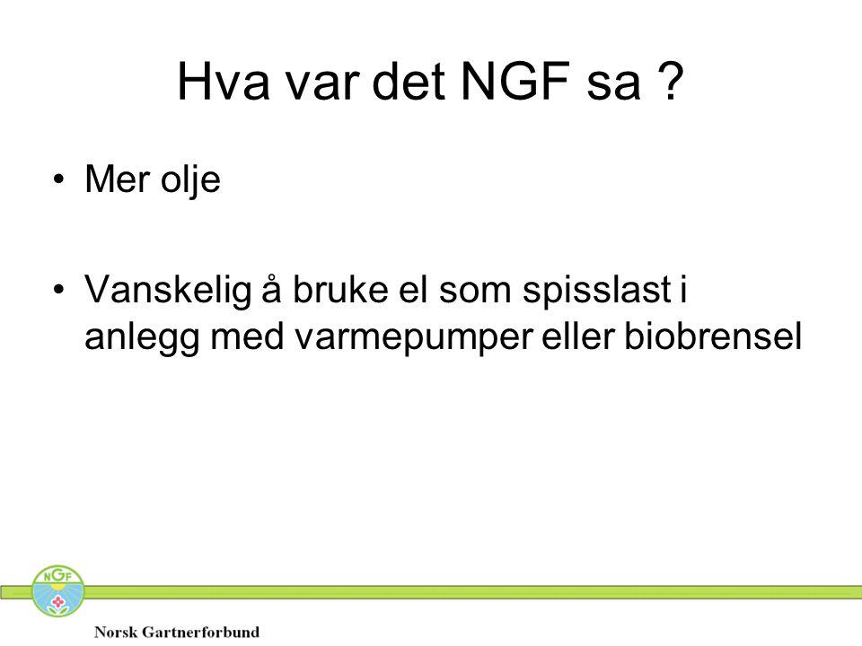 Hva var det NGF sa ? •Mer olje •Vanskelig å bruke el som spisslast i anlegg med varmepumper eller biobrensel