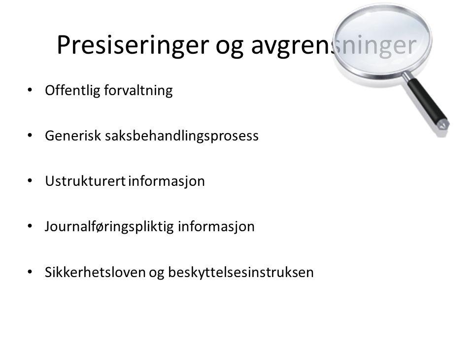 Presiseringer og avgrensninger • Offentlig forvaltning • Generisk saksbehandlingsprosess • Ustrukturert informasjon • Journalføringspliktig informasjo