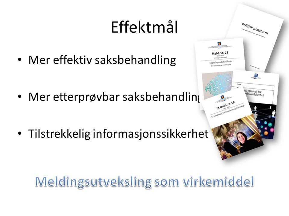 Effektmål • Mer effektiv saksbehandling • Mer etterprøvbar saksbehandling • Tilstrekkelig informasjonssikkerhet