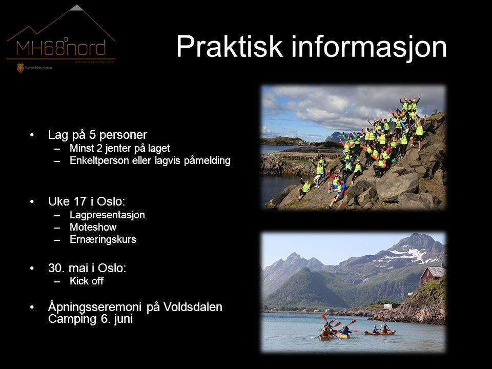 Praktisk informasjon •Lag på 5 personer –Minst 2 jenter på laget –Enkeltperson eller lagvis påmelding •Uke 17 i Oslo: –Lagpresentasjon –Moteshow –Ernæringskurs •30.