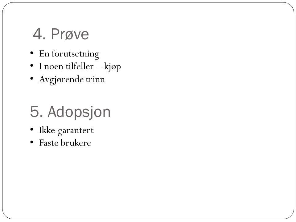 4.Prøve • En forutsetning • I noen tilfeller – kjøp • Avgjørende trinn 5.