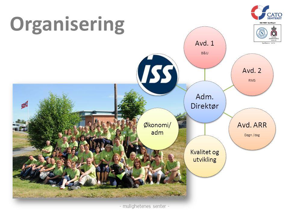 Organisering Adm. Direktør Avd. 1 B&U Avd. 2 RMS Avd. ARR Døgn /dag Kvalitet og utvikling Økonomi/ adm - mulighetenes senter -