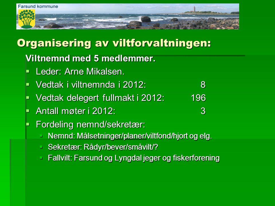 Organisering av viltforvaltningen: Viltnemnd med 5 medlemmer.  Leder: Arne Mikalsen.  Vedtak i viltnemnda i 2012: 8  Vedtak delegert fullmakt i 201