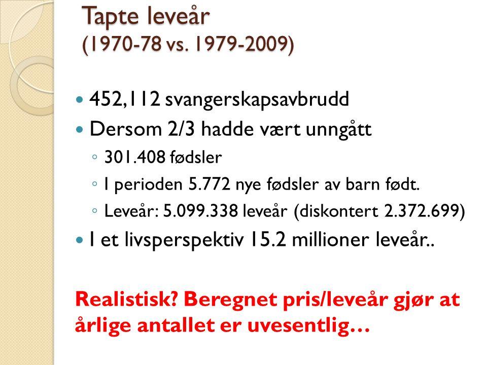 Tapte leveår (1970-78 vs.