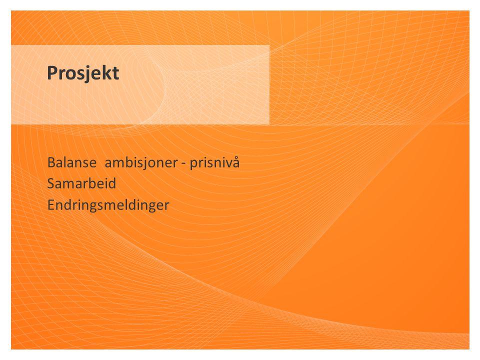 Balanse ambisjoner - prisnivå Samarbeid Endringsmeldinger Prosjekt