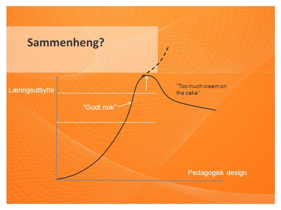 "Sammenheng? Pedagogisk design Læringsutbytte ""Godt nok"" ""Too much creem on the cake"""