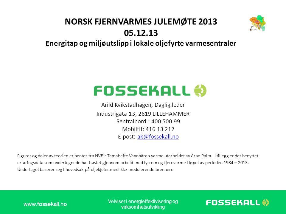 NORSK FJERNVARMES JULEMØTE 2013 05.12.13 Energitap og miljøutslipp i lokale oljefyrte varmesentraler Arild Kvikstadhagen, Daglig leder Industrigata 13