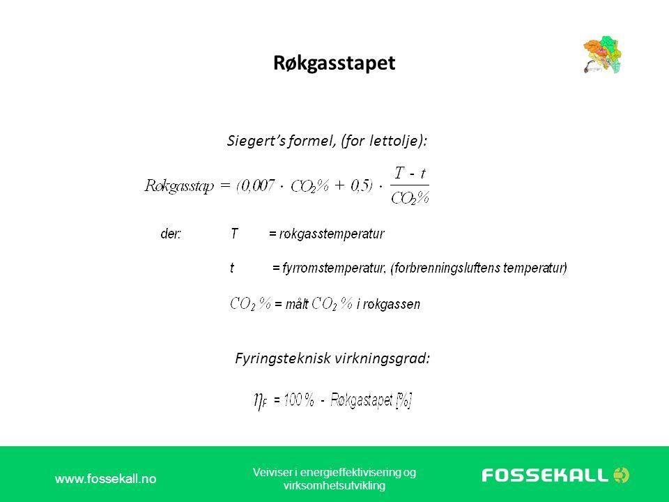 Røkgasstapet Siegert's formel, (for lettolje): Fyringsteknisk virkningsgrad: www.fossekall.no Veiviser i energieffektivisering og virksomhetsutvikling