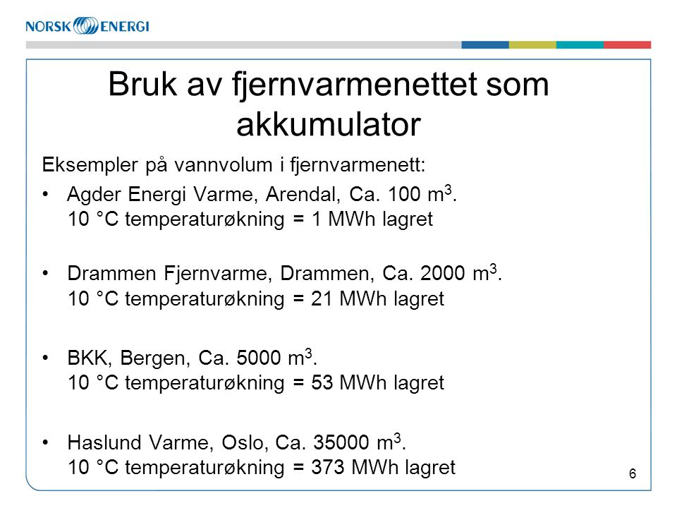 Bruk av fjernvarmenettet som akkumulator Eksempler på vannvolum i fjernvarmenett: •Agder Energi Varme, Arendal, Ca. 100 m 3. 10 °C temperaturøkning =