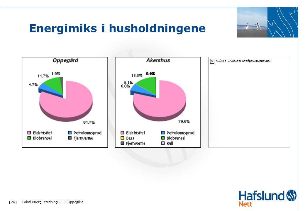  24  Lokal energiutredning 2006 Oppegård Energimiks i husholdningene