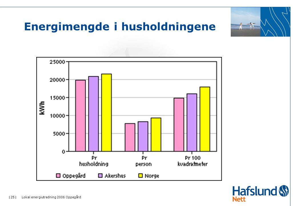 25  Lokal energiutredning 2006 Oppegård Energimengde i husholdningene