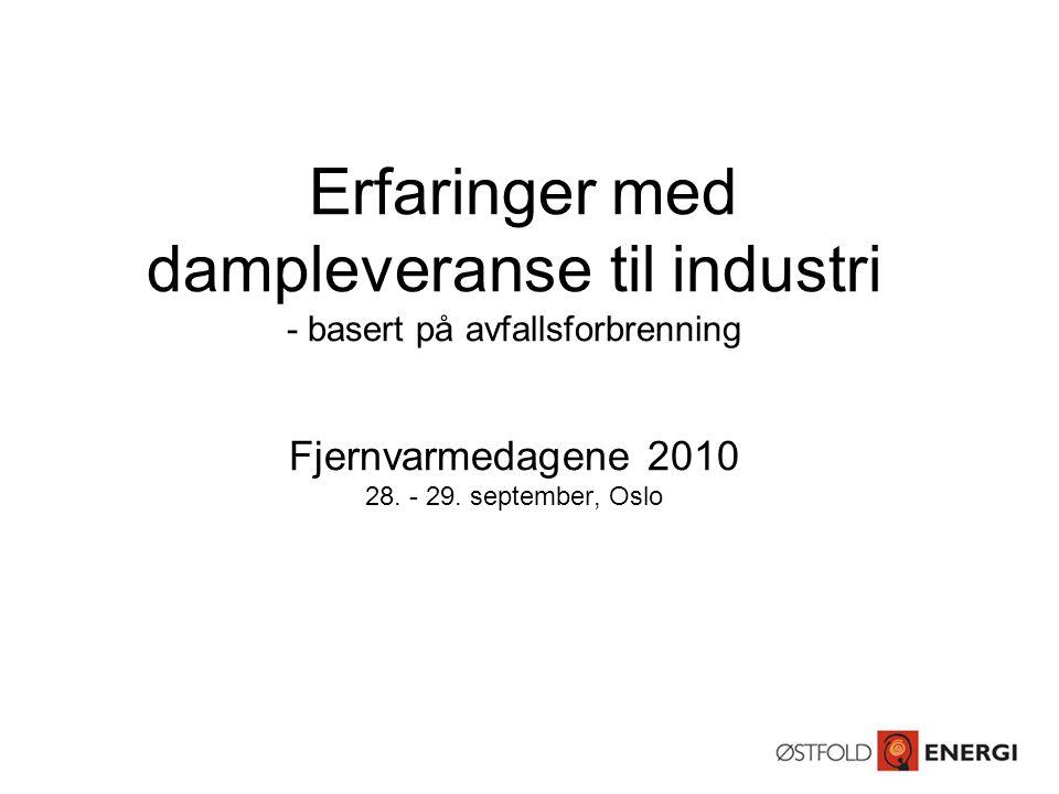 Erfaringer med dampleveranse til industri - basert på avfallsforbrenning Fjernvarmedagene 2010 28. - 29. september, Oslo