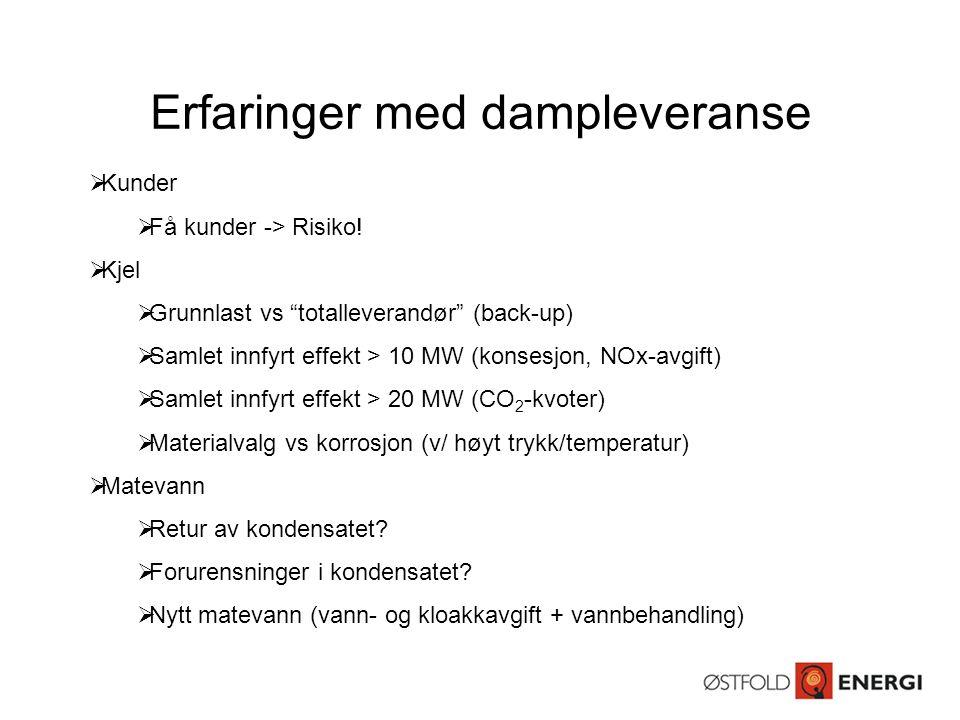 """Erfaringer med dampleveranse  Kunder  Få kunder -> Risiko!  Kjel  Grunnlast vs """"totalleverandør"""" (back-up)  Samlet innfyrt effekt > 10 MW (konses"""