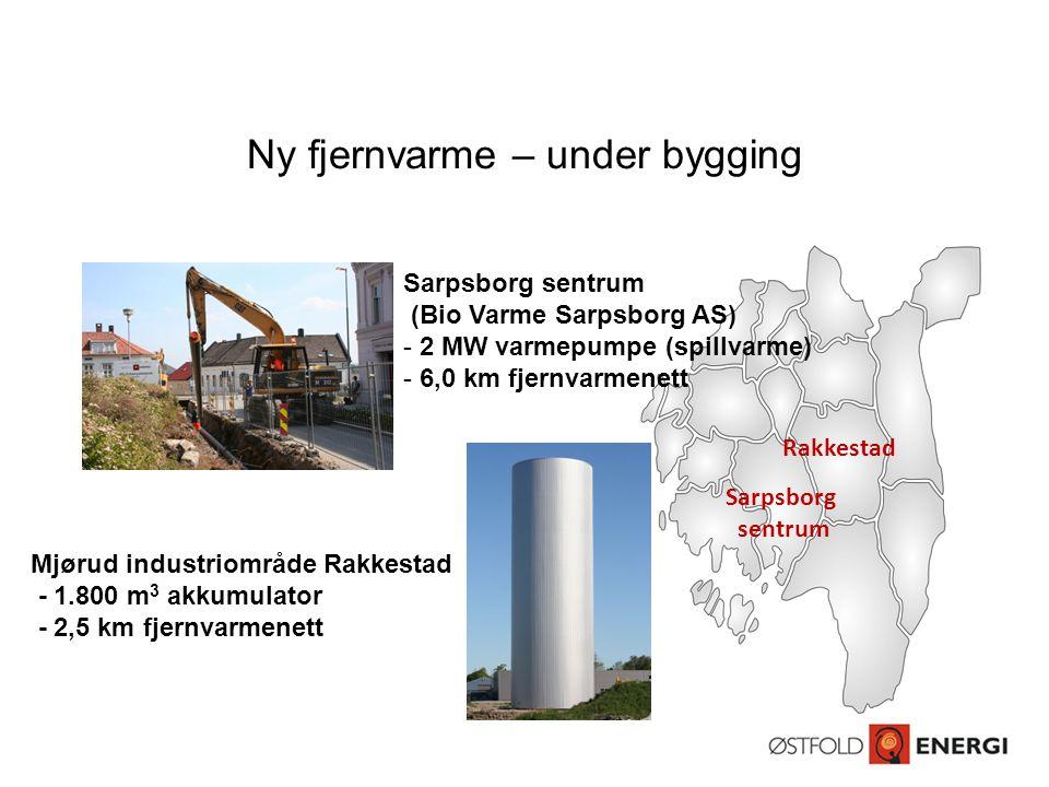 Ny fjernvarme – under bygging Sarpsborg sentrum (Bio Varme Sarpsborg AS) - 2 MW varmepumpe (spillvarme) - 6,0 km fjernvarmenett Mjørud industriområde