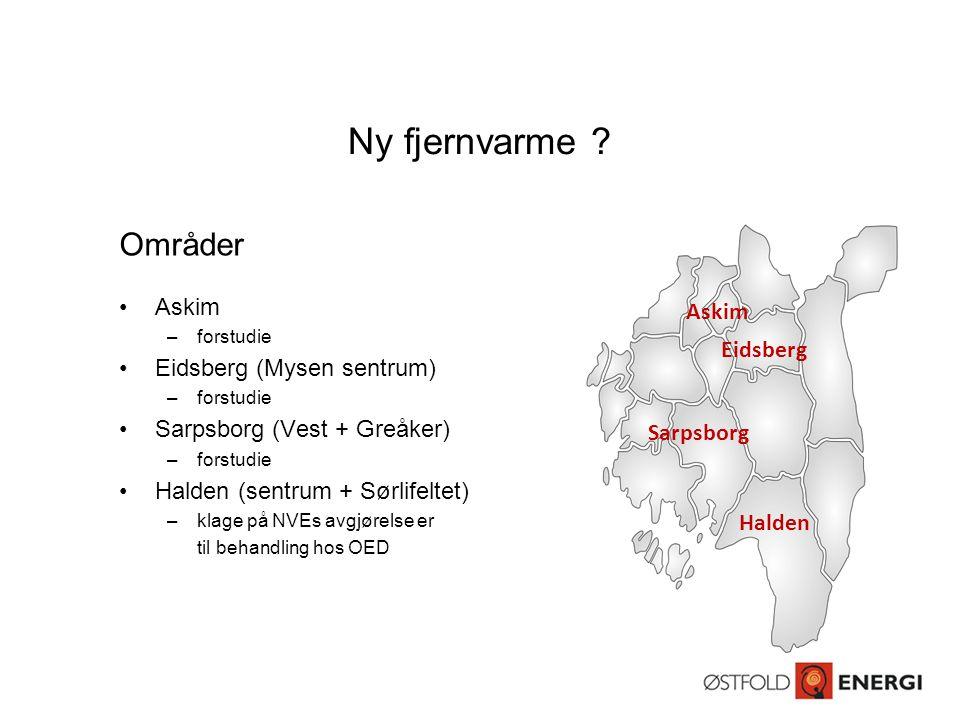 Ny fjernvarme ? Områder •Askim –forstudie •Eidsberg (Mysen sentrum) –forstudie •Sarpsborg (Vest + Greåker) –forstudie •Halden (sentrum + Sørlifeltet)