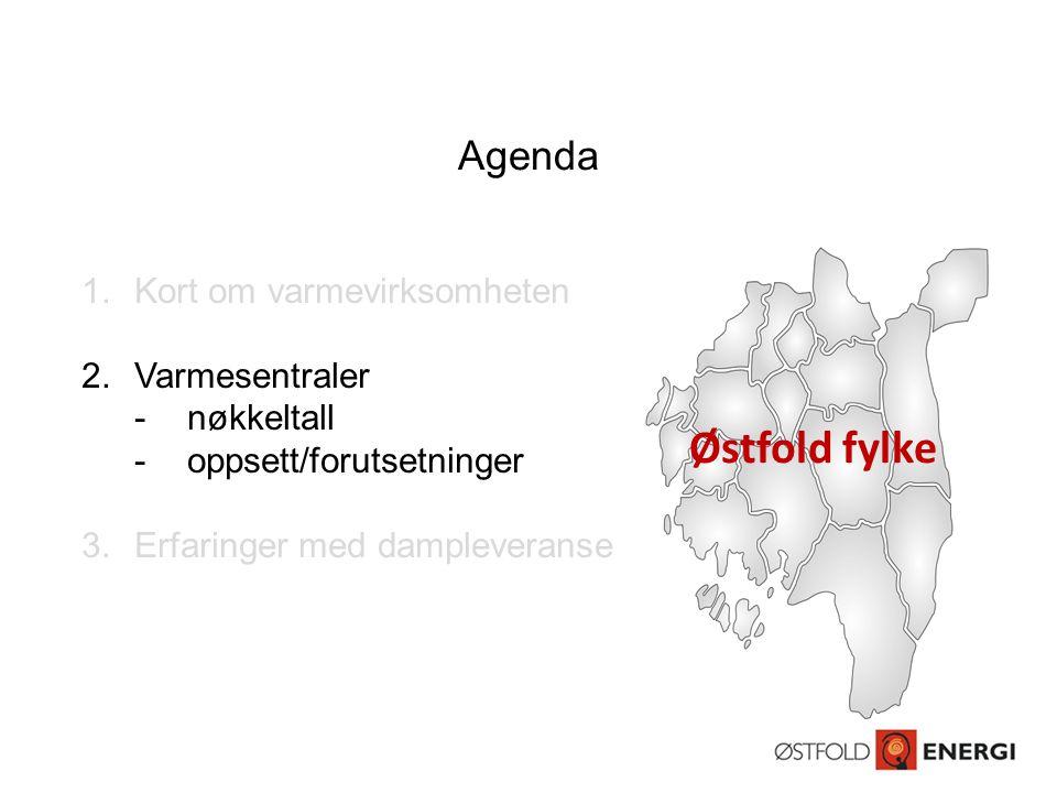 Agenda 1.Kort om varmevirksomheten 2.Varmesentraler -nøkkeltall -oppsett/forutsetninger 3.Erfaringer med dampleveranse Østfold fylke