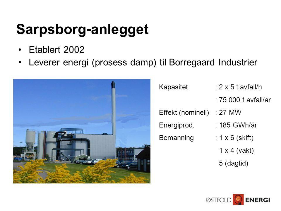 •Etablert 2002 •Leverer energi (prosess damp) til Borregaard Industrier Kapasitet: 2 x 5 t avfall/h : 75.000 t avfall/år Effekt (nominell): 27 MW Ener