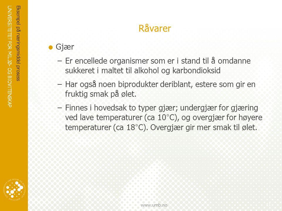 UNIVERSITETET FOR MILJØ- OG BIOVITENSKAP www.umb.no Råvarer  Gjær –Er encellede organismer som er i stand til å omdanne sukkeret i maltet til alkohol