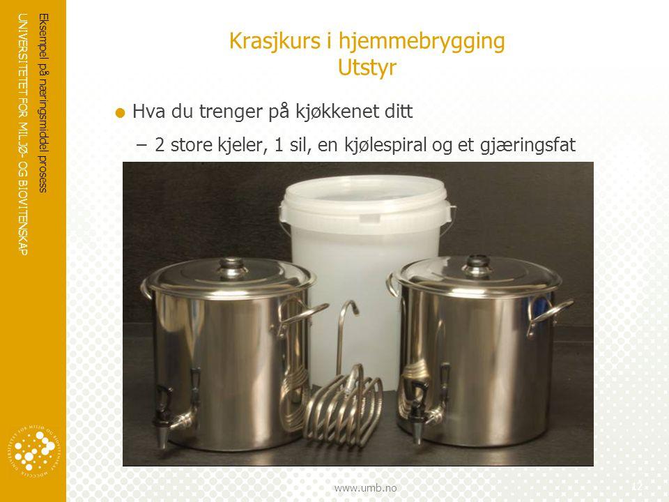 UNIVERSITETET FOR MILJØ- OG BIOVITENSKAP www.umb.no Krasjkurs i hjemmebrygging Utstyr  Hva du trenger på kjøkkenet ditt –2 store kjeler, 1 sil, en kj