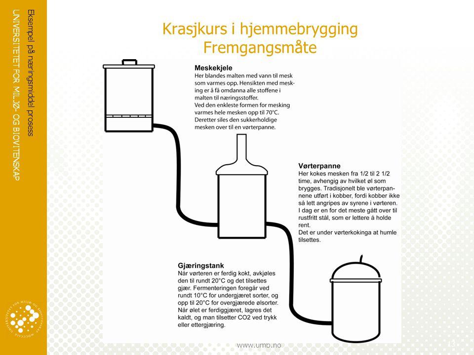 UNIVERSITETET FOR MILJØ- OG BIOVITENSKAP www.umb.no Krasjkurs i hjemmebrygging Fremgangsmåte Eksempel på næringsmiddel prosess 13