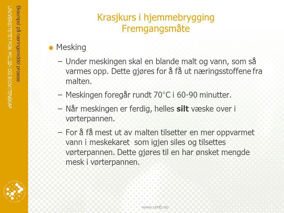 UNIVERSITETET FOR MILJØ- OG BIOVITENSKAP www.umb.no Krasjkurs i hjemmebrygging Fremgangsmåte  Mesking –Under meskingen skal en blande malt og vann, s