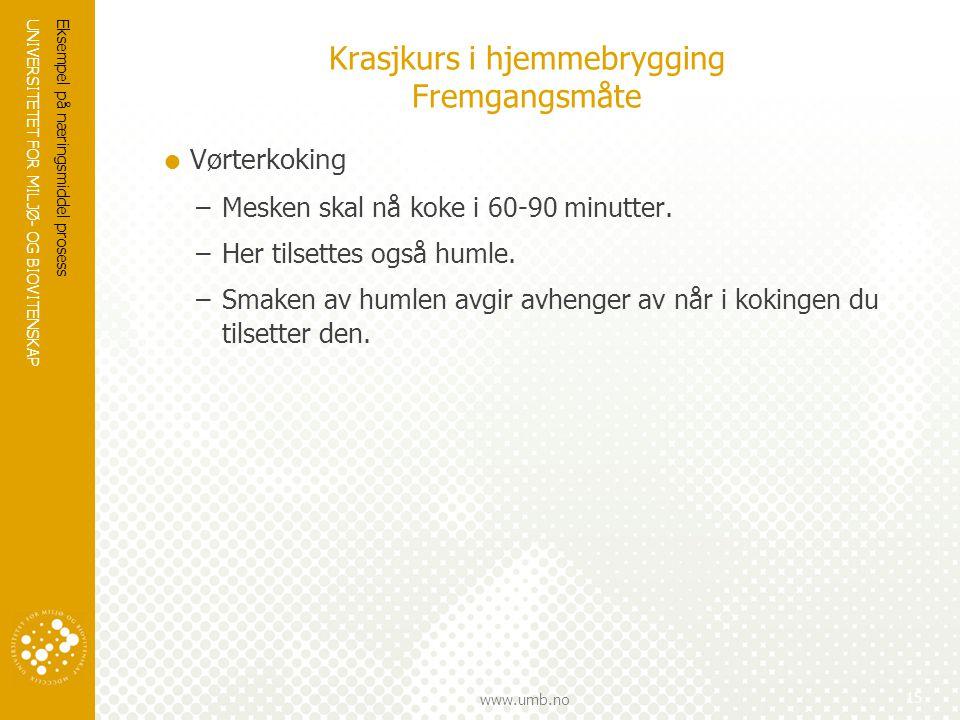 UNIVERSITETET FOR MILJØ- OG BIOVITENSKAP www.umb.no Krasjkurs i hjemmebrygging Fremgangsmåte  Vørterkoking –Mesken skal nå koke i 60-90 minutter. –He