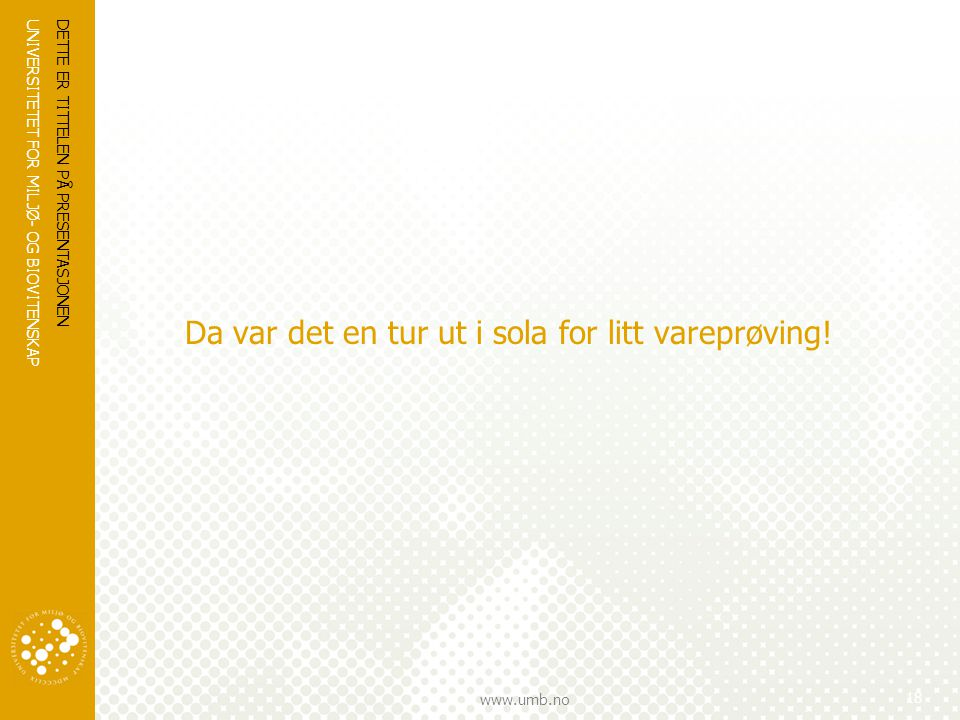 UNIVERSITETET FOR MILJØ- OG BIOVITENSKAP www.umb.no Da var det en tur ut i sola for litt vareprøving! DETTE ER TITTELEN PÅ PRESENTASJONEN 18
