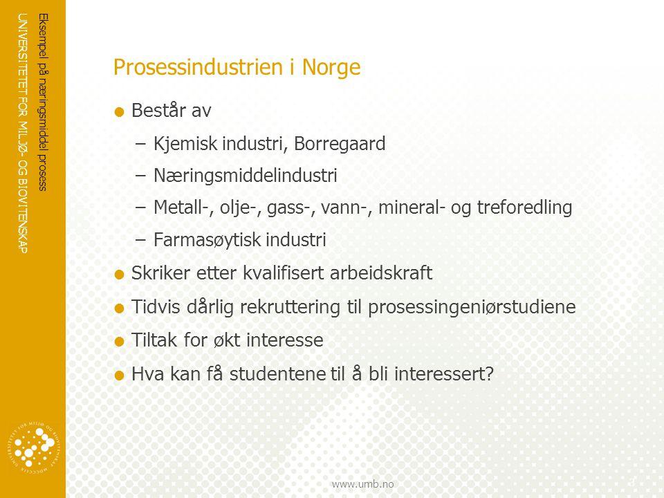 UNIVERSITETET FOR MILJØ- OG BIOVITENSKAP www.umb.no Eksempel på næringsmiddel prosess 3 Prosessindustrien i Norge  Består av –Kjemisk industri, Borre