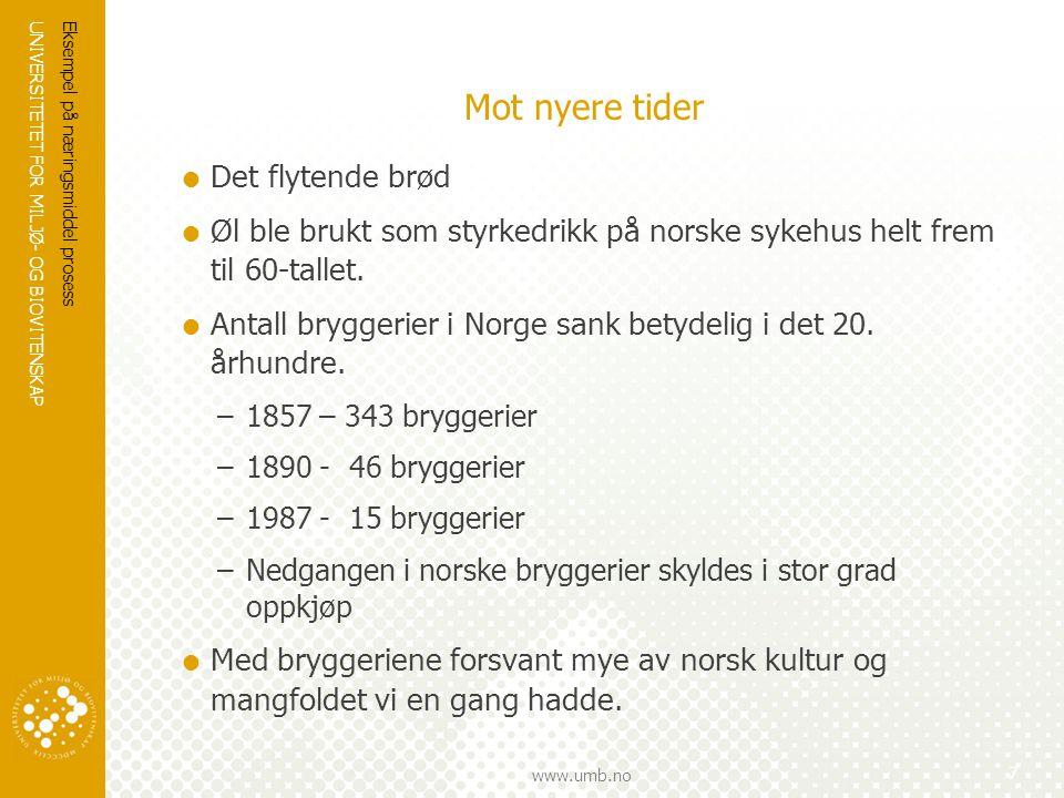 UNIVERSITETET FOR MILJØ- OG BIOVITENSKAP www.umb.no Mot nyere tider  Det flytende brød  Øl ble brukt som styrkedrikk på norske sykehus helt frem til