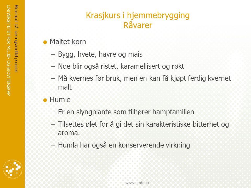 UNIVERSITETET FOR MILJØ- OG BIOVITENSKAP www.umb.no Krasjkurs i hjemmebrygging Råvarer  Maltet korn –Bygg, hvete, havre og mais –Noe blir også ristet