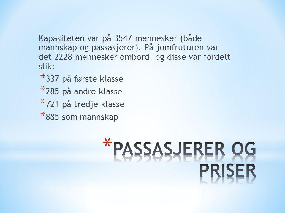 Kapasiteten var på 3547 mennesker (både mannskap og passasjerer). På jomfruturen var det 2228 mennesker ombord, og disse var fordelt slik: * 337 på fø
