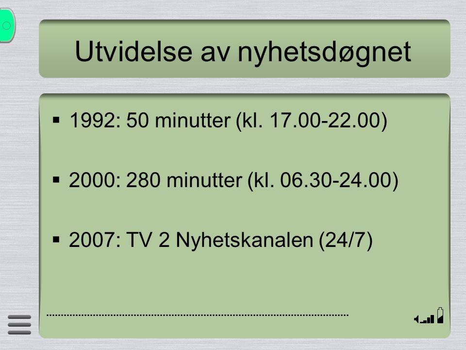 Utvidelse av nyhetsdøgnet  1992: 50 minutter (kl. 17.00-22.00)  2000: 280 minutter (kl. 06.30-24.00)  2007: TV 2 Nyhetskanalen (24/7)
