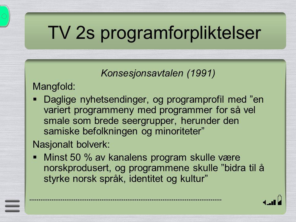 """TV 2s programforpliktelser Konsesjonsavtalen (1991) Mangfold:  Daglige nyhetsendinger, og programprofil med """"en variert programmeny med programmer fo"""
