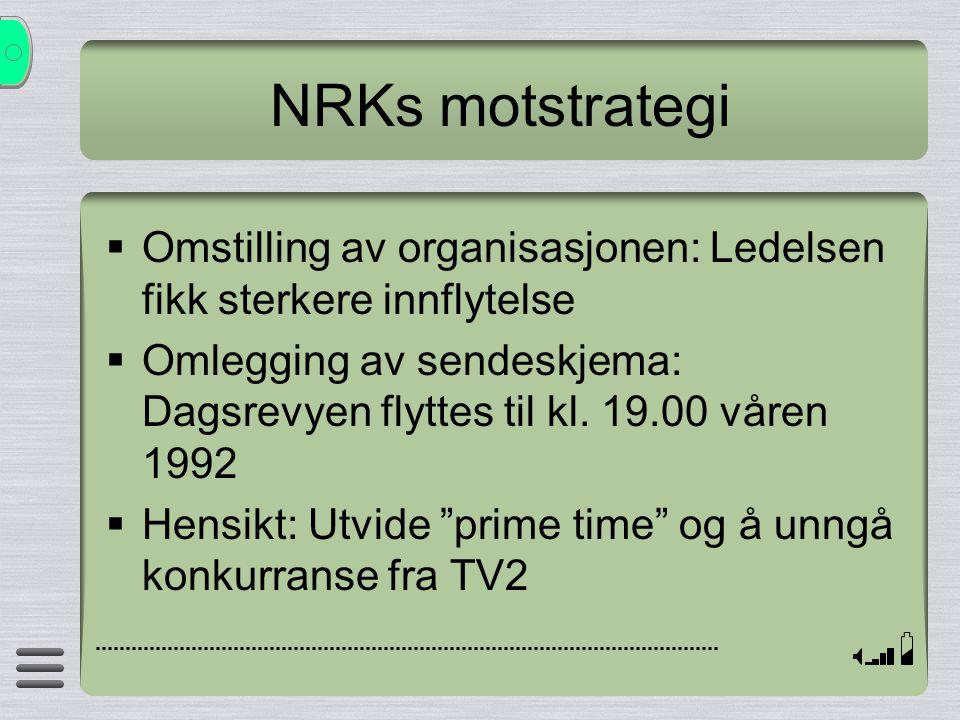 NRKs motstrategi  Omstilling av organisasjonen: Ledelsen fikk sterkere innflytelse  Omlegging av sendeskjema: Dagsrevyen flyttes til kl. 19.00 våren