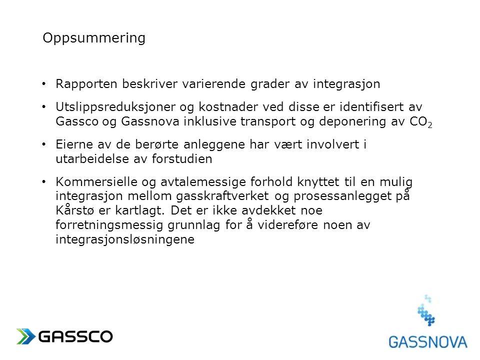 www.gassco.no Oppsummering • Rapporten beskriver varierende grader av integrasjon • Utslippsreduksjoner og kostnader ved disse er identifisert av Gass