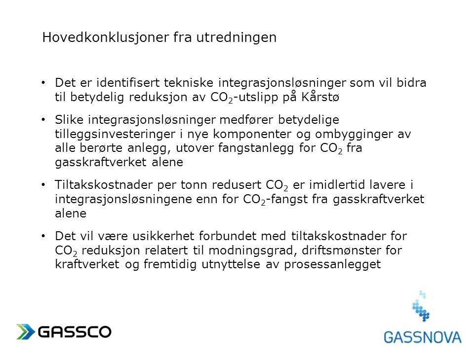www.gassco.no Hovedkonklusjoner fra utredningen • Det er identifisert tekniske integrasjonsløsninger som vil bidra til betydelig reduksjon av CO 2 -ut