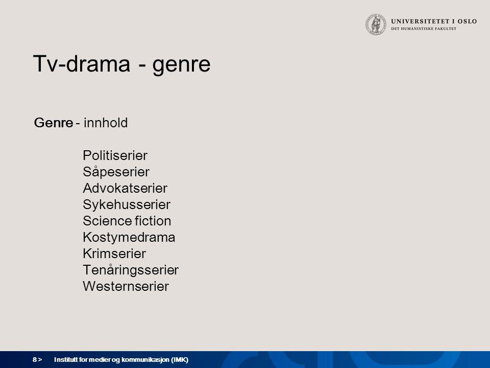 8 > Institutt for medier og kommunikasjon (IMK) Tv-drama - genre Genre - innhold Politiserier Såpeserier Advokatserier Sykehusserier Science fiction Kostymedrama Krimserier Tenåringsserier Westernserier