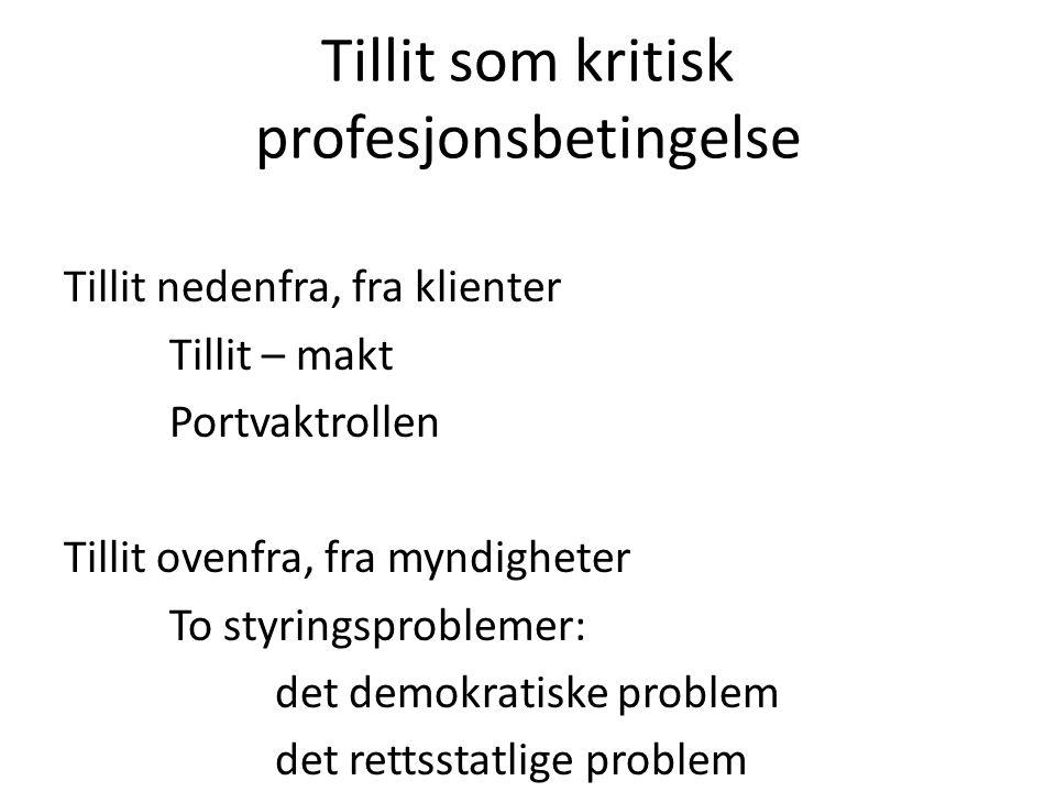 Tillit som kritisk profesjonsbetingelse Tillit nedenfra, fra klienter Tillit – makt Portvaktrollen Tillit ovenfra, fra myndigheter To styringsprobleme