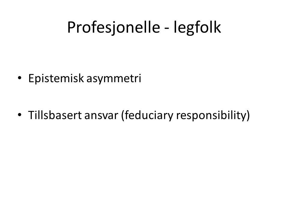 Profesjonelle - legfolk • Epistemisk asymmetri • Tillsbasert ansvar (feduciary responsibility)