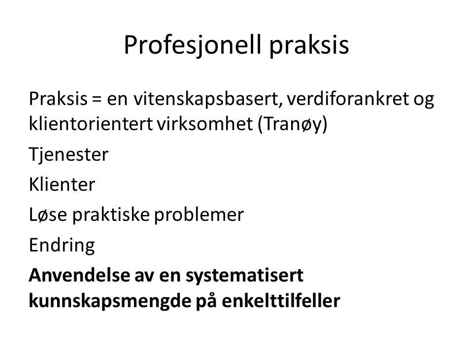 Profesjonell praksis Praksis = en vitenskapsbasert, verdiforankret og klientorientert virksomhet (Tranøy) Tjenester Klienter Løse praktiske problemer Endring Anvendelse av en systematisert kunnskapsmengde på enkelttilfeller