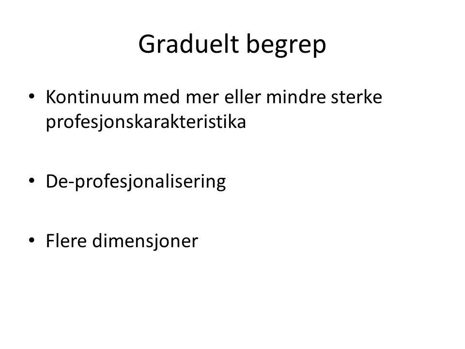 Graduelt begrep • Kontinuum med mer eller mindre sterke profesjonskarakteristika • De-profesjonalisering • Flere dimensjoner