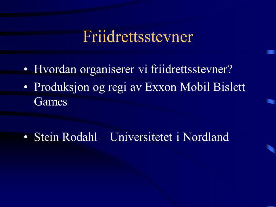 Friidrettsstevner •Hvordan organiserer vi friidrettsstevner? •Produksjon og regi av Exxon Mobil Bislett Games •Stein Rodahl – Universitetet i Nordland