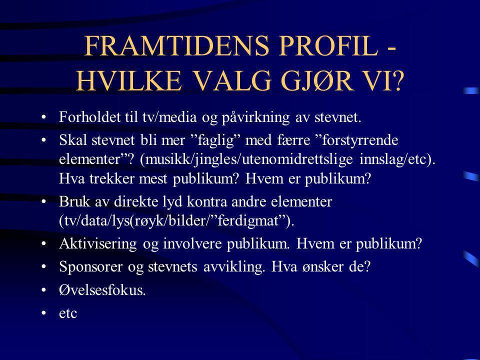 FRAMTIDENS PROFIL - HVILKE VALG GJØR VI. •Forholdet til tv/media og påvirkning av stevnet.