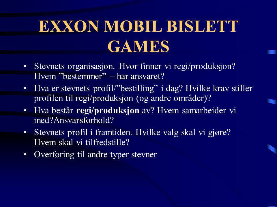 """EXXON MOBIL BISLETT GAMES •Stevnets organisasjon. Hvor finner vi regi/produksjon? Hvem """"bestemmer"""" – har ansvaret? •Hva er stevnets profil/""""bestilling"""