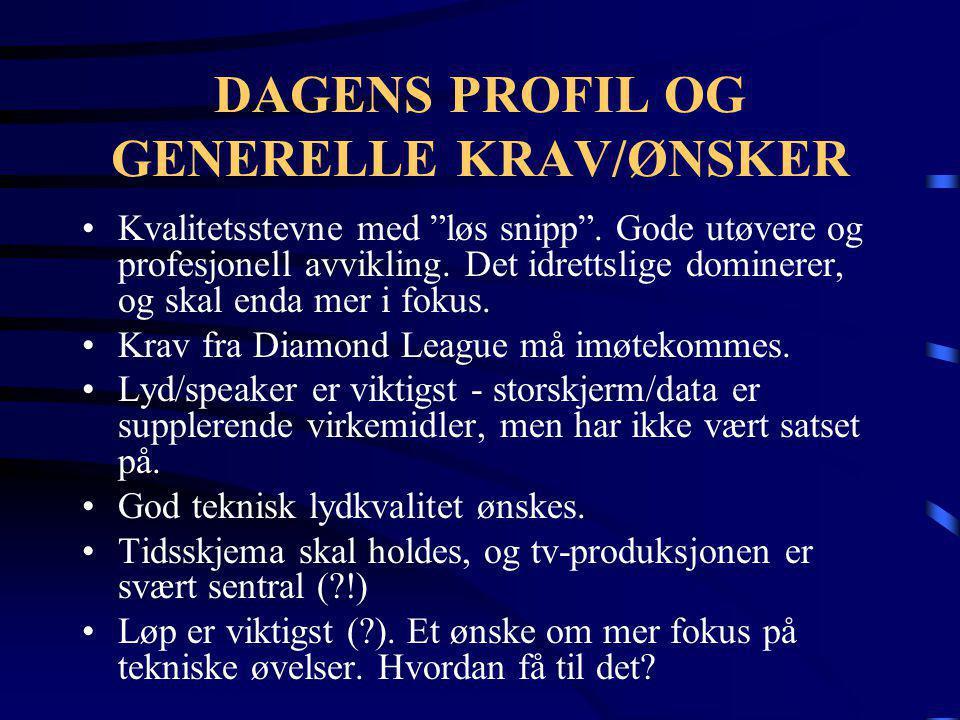 """DAGENS PROFIL OG GENERELLE KRAV/ØNSKER •Kvalitetsstevne med """"løs snipp"""". Gode utøvere og profesjonell avvikling. Det idrettslige dominerer, og skal en"""