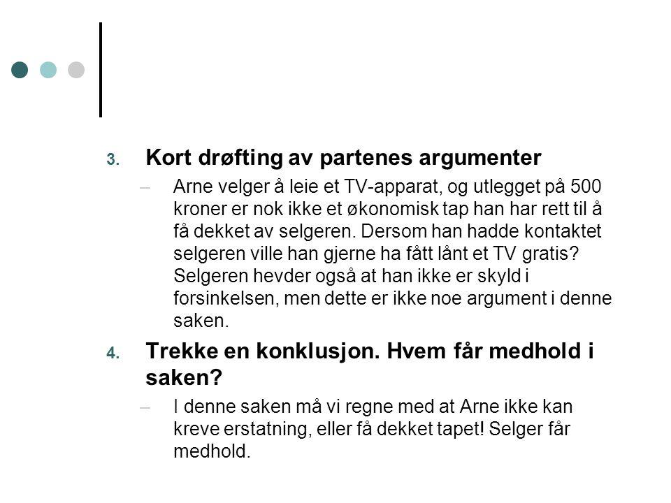 3. Kort drøfting av partenes argumenter –Arne velger å leie et TV-apparat, og utlegget på 500 kroner er nok ikke et økonomisk tap han har rett til å f