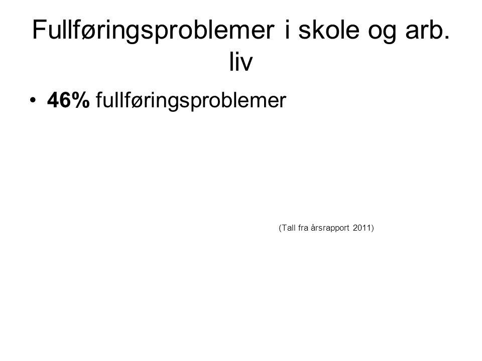 Fullføringsproblemer i skole og arb. liv •46% fullføringsproblemer (Tall fra årsrapport 2011)