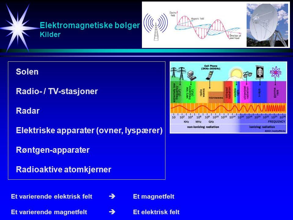 Elektromagnetiske bølger Kilder Solen Radio- / TV-stasjoner Radar Elektriske apparater (ovner, lyspærer) Røntgen-apparater Radioaktive atomkjerner Et
