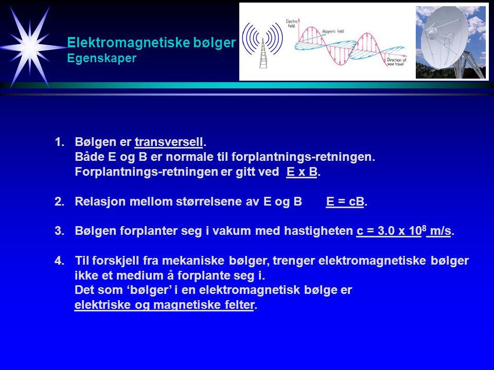 Elektromagnetiske bølger Egenskaper 1.Bølgen er transversell. Både E og B er normale til forplantnings-retningen. Forplantnings-retningen er gitt ved